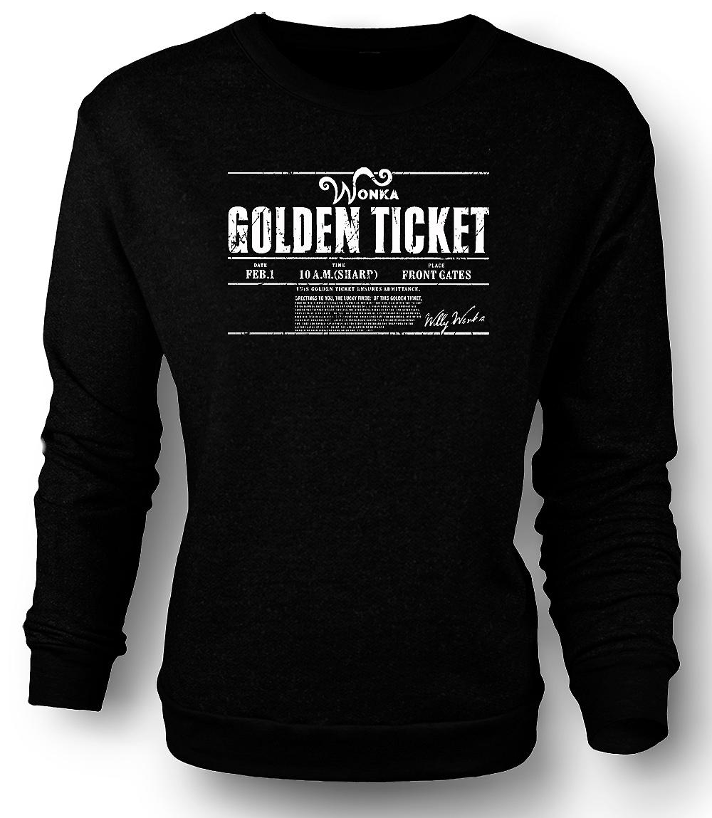 Mens Sweatshirt Willy Wonkas Ticket - Movie - BW - Funny