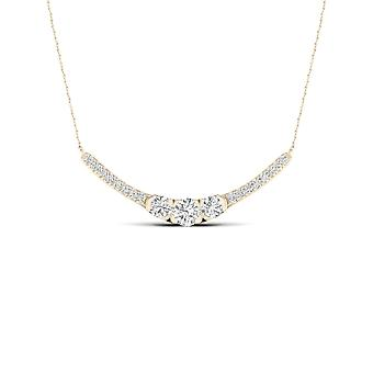 IGI Certified 10K Yellow Gold 0.50Ct TDW Natural Diamond Three Stone Necklace