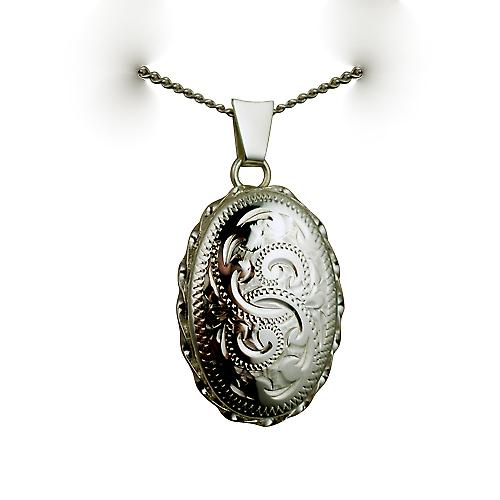 Silver 23x16mm oval hand engraved twisted wire edge Locket with a curb Chain 24 inches