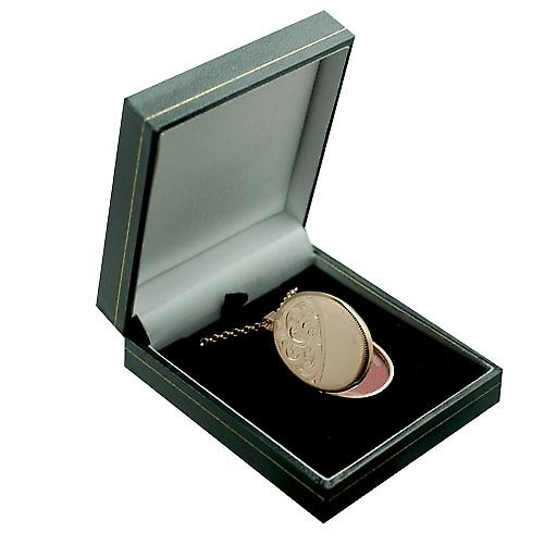 9ct Rose Gold 35x26mm half engraved flat oval Locket with Belcher chain