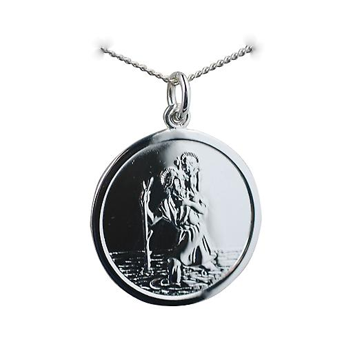 Silver 25mm round St Christopher Pendant with car boat train plane on back with a curb Chain 20 inch