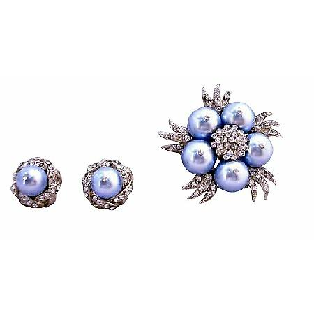 Fabulous Swarovski Blue Pearls Brooch with Matching Earrings