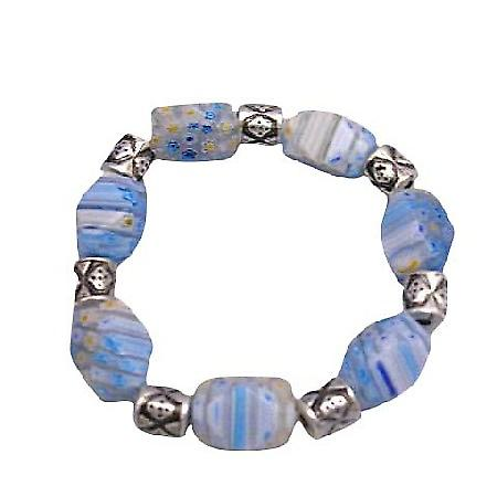 Beautiful Shades Of Blue Millefiori Stretchable Bracelet