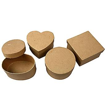 4 Medium Assorted Shapes Paper Mache Boxes for Crafts | Papier Mache Boxes