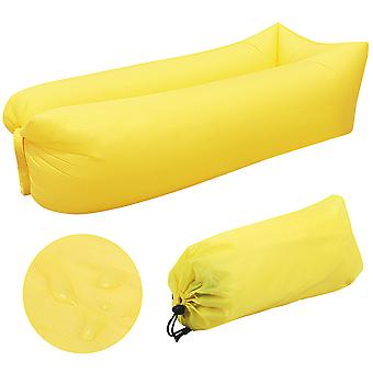 Yellow Inflatable Lounger Blow Up Sofa Chair Portable Travelling Camping Beach TRIXES