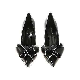 Casadei women's classic pumps in black Leather with colored bow made in italy