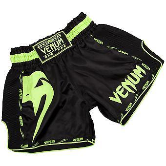 Venum Mens Giant Muay Thai Shorts - Black/Neo Yellow
