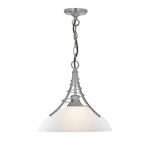 Searchlight 5224SS Linea Satin Silver Twist Pendant Complete With Acid Glass