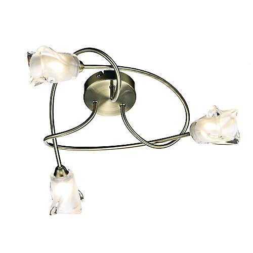Dar CIC5375 Cicero Traditional Brass 3 Arm Halogen Flush Ceiling Light