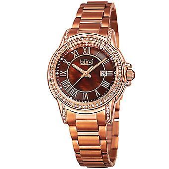 Burgi Women's Quartz  Mother of Pearl Center Stainless Steel Rose-Tone Bracelet Watch BUR168RGBR