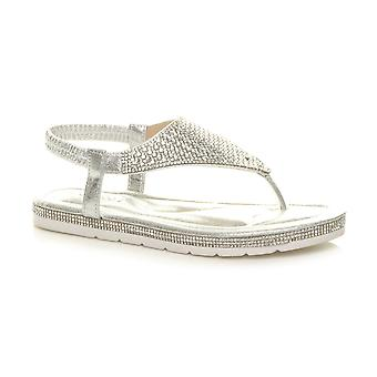 Ajvani Womens flatform toe post t-bar diamante comfort slingback sandals
