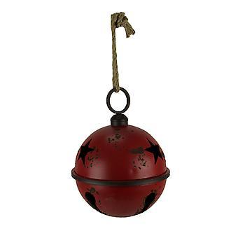 Rustic Red Metal Hanging Jingle Bell Ornament 10 inch Diameter