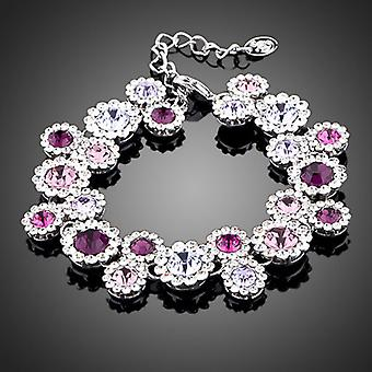 Platinum Plated 23 Austrian Crystal Pink-Purple Bracelet, 16 cm long, link chain