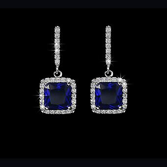 18K Gold Plated Navy Blue Square Cubic Zirconia Earrings, 2.2cm