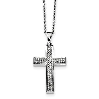 925 Sterling Silver Pave Rhodium-plated Lobster Claw Closure and Cubic Zirconia Polished Cross Necklace - 18 Inch