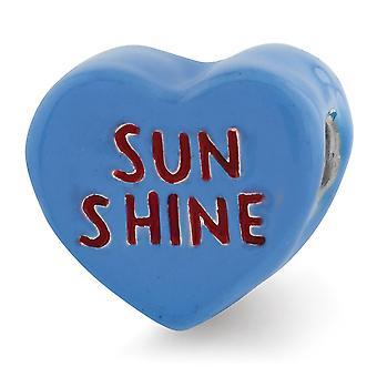 925 Sterling Argent Rouge Enamel Blue Enamel Reflections Kids Sun Shine Enameled Heart Bead Charm