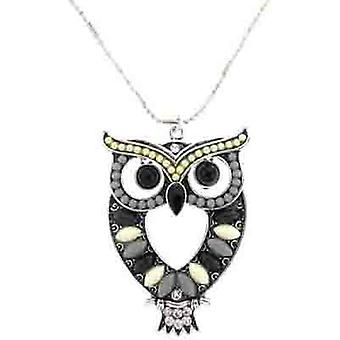 Black and Grey Bead Wise Owl Pendant Necklace Chain