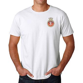 HMS Ledbury bordado logo - Marina de guerra real oficial Ringspun algodón T Shirt
