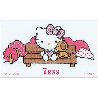 Hello Kitty In The Park On Aida Counted Cross Stitch Kit-12.8