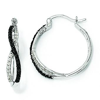 Sterling zilveren Blk Wht CZ Twisted Hoop Earrings Hoop Earrings