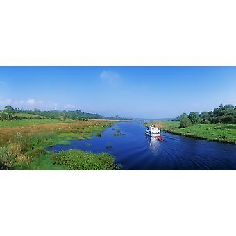 Boat In The River Shannon-Erne Waterway Keshcarrigan Republic Of Ireland PosterPrint