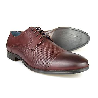 Silver Street London Garrick Mens Burgundy Leather Formal Gibsons