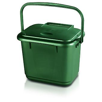 Kitchen Home Plastic Green Compost Waste Caddy with Handle