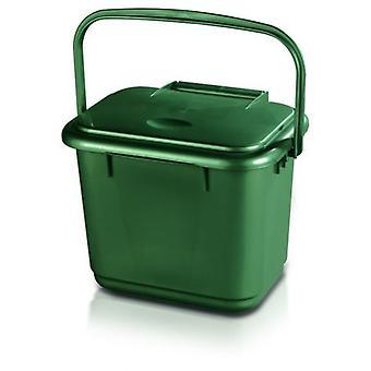 Cocina hogar plástico verde Compost residuos carrito con mango