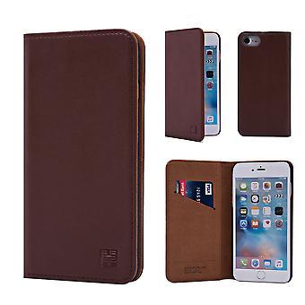 32-классический реальный кожаный бумажник для Apple iPhone 7 / iPhone 8 - темно-коричневый