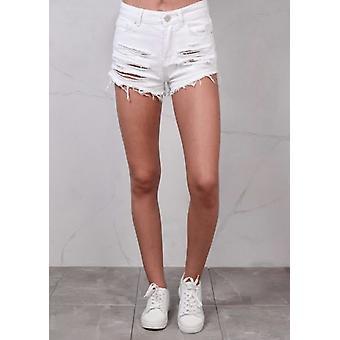 Høj indsnævrede rippede flosset kant Denim Hotpants Shorts hvid