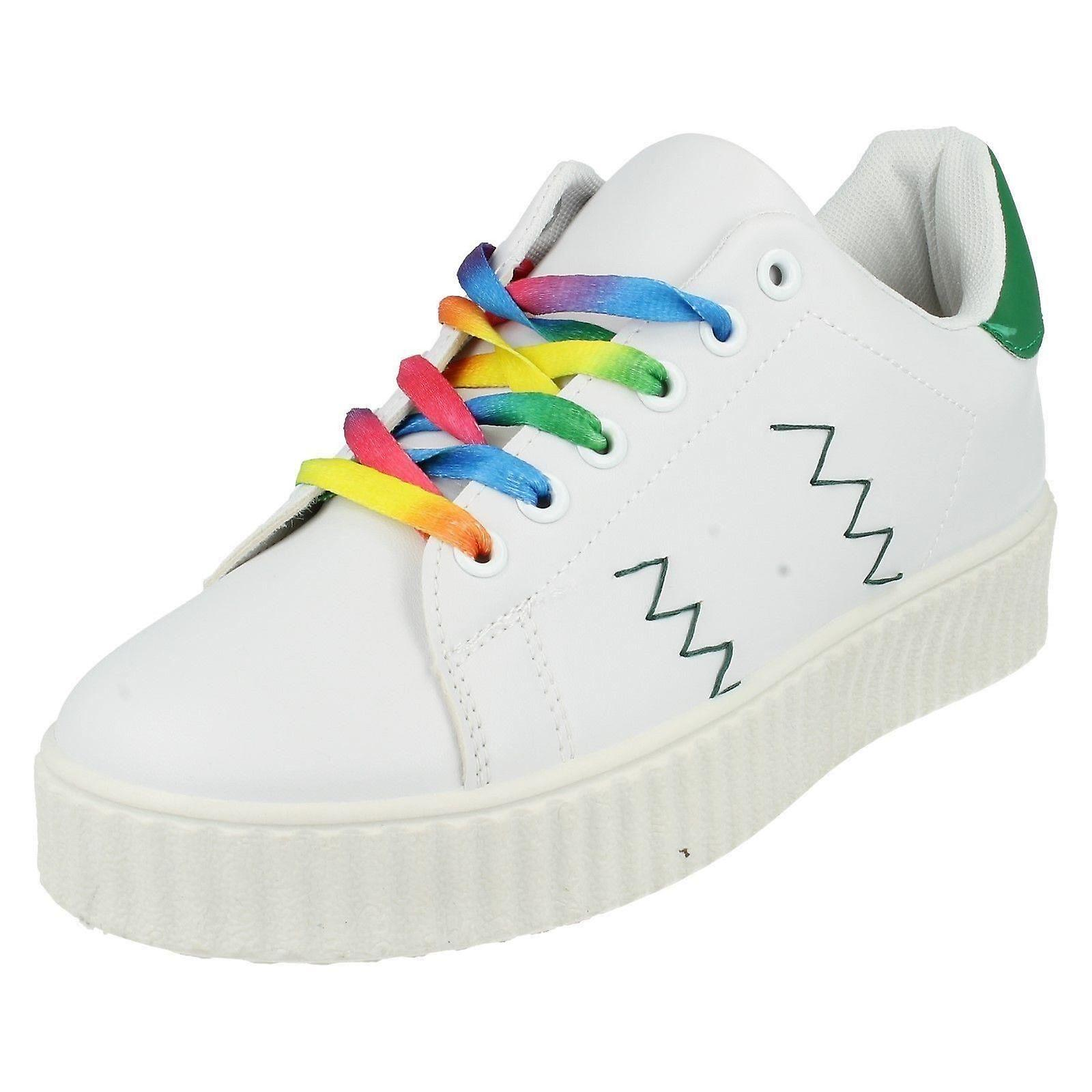 Ladies Spot On Lace Up Casual Trainers F80221