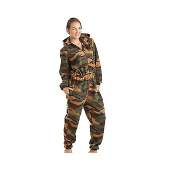 Camille Womens Ladies Luxury All In One Green Camouflage Print Hooded Fleece Onesie Pyjama Sizes 10-40