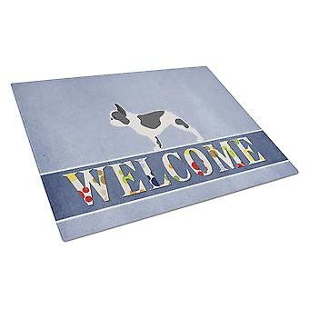 Carolines Treasures  BB5545LCB French Bulldog Welcome Glass Cutting Board Large