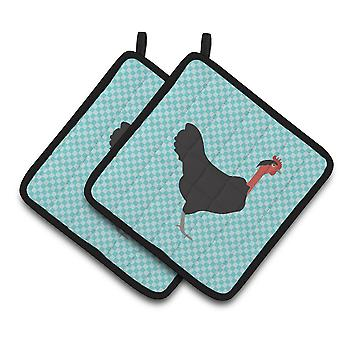Naked Neck Chicken Blue Check Pair of Pot Holders