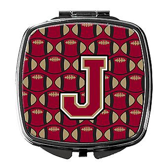 Letter J Football Garnet and Gold Compact Mirror