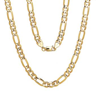 10k Yellow Gold Figaro Chain Necklace with Concave Look, 0.35 Inch (9mm)