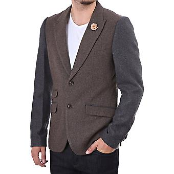 Pearly King Mens Blazer In Cotton Mix With Contrast Sleeve
