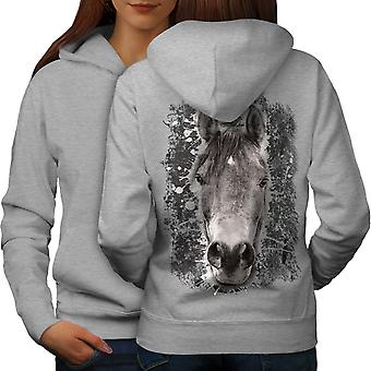 Horse Face Nature Animal Women GreyHoodie Back | Wellcoda