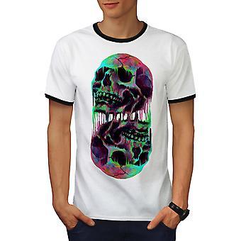 Melting Skulls Fantasy Men White / BlackRinger T-shirt | Wellcoda