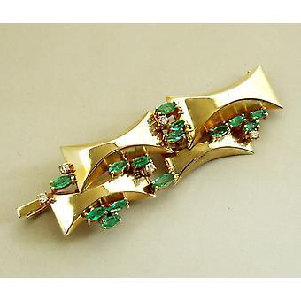 Broche de oro con diamantes y Esmeralda