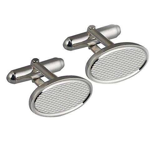 Silver 12x19mm oval engine turned barley infill swivel Cufflinks