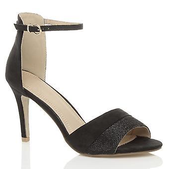 Ajvani womens hoge hak stiletto partij enkel manchet riem contrast twee Toon sandalen gluren teen schoenen