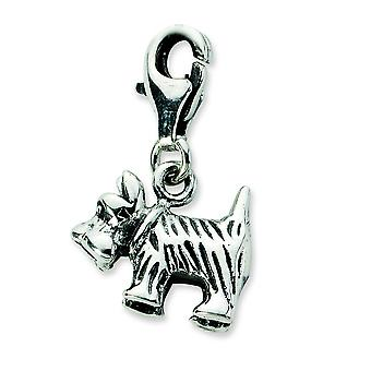 Sterling Silver Antique finish Fancy Lobster Closure 3-d Antiqued Scottie Dog With Lobster Clasp Charm - Measures 20x13m