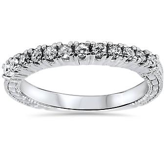 1/3ct Vintage Diamond Ring 14K White Gold