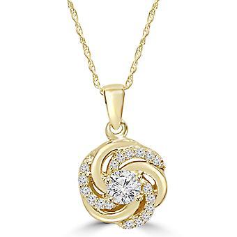 1 / 2CT Diamond Vintage cirkel flätad hänge 14K gult guld