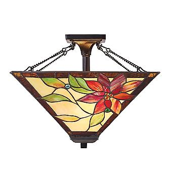 Interiors 1900 70767 Lelani 2 Light Medium Tiffany Glass Semi Flush Ce