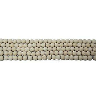 Nitką 40 + krem Riverstone 8mm gładkie matowe koraliki CB34010-3