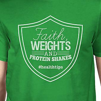 Faith Weights Mens Green Trendy Gym T-Shirt Funny Graphic Tee Gift