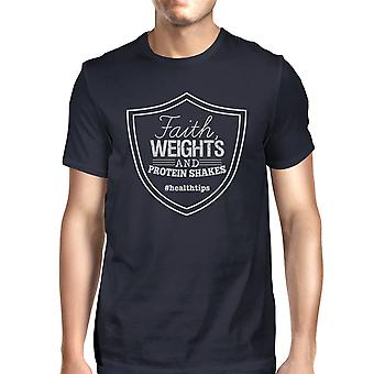 Faith Weights Mens Navy Funny Workout Tee Lightweight T-Shirt Gifts
