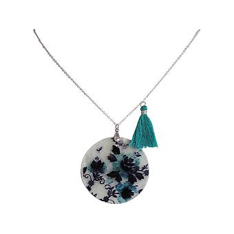Ladies - necklace - pendant - Locket - mother of Pearl - FLOWERS - 925 Silver - black - blue - 5 cm